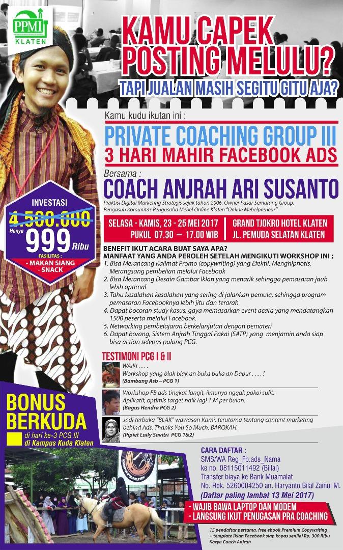 Pelatihan Facebook Ads Iklan Facebook Coach Anjrah Ari Susanto