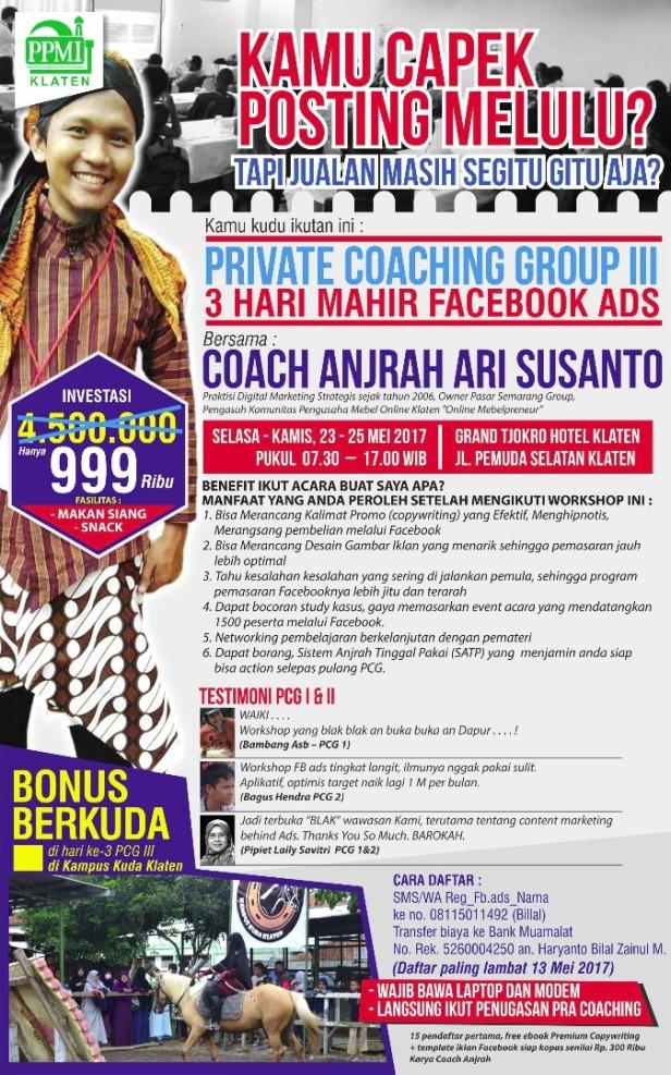 PCG FB ADS KLATEN COACH ANJRAH pelatihan facebook ads jualan online di klaten